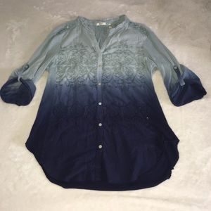 ANTHROPOLOGIE Blue Ombré Cover Up 3/4 Sleeves Smal